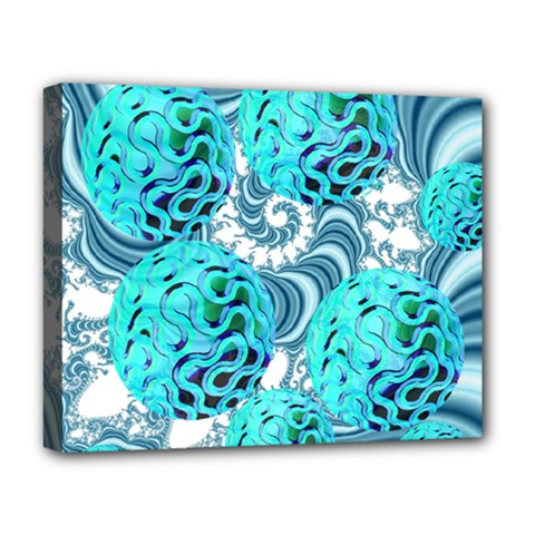 Teal Sea Forest, Abstract Underwater Ocean Deluxe Canvas 20  X 16  (framed) by DianeClancy