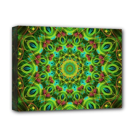 Peacock Feathers Mandala Deluxe Canvas 16  X 12  (framed)  by Zandiepants