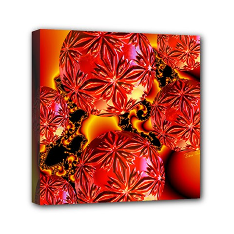 Flame Delights, Abstract Red Orange Mini Canvas 6  X 6  (framed) by DianeClancy