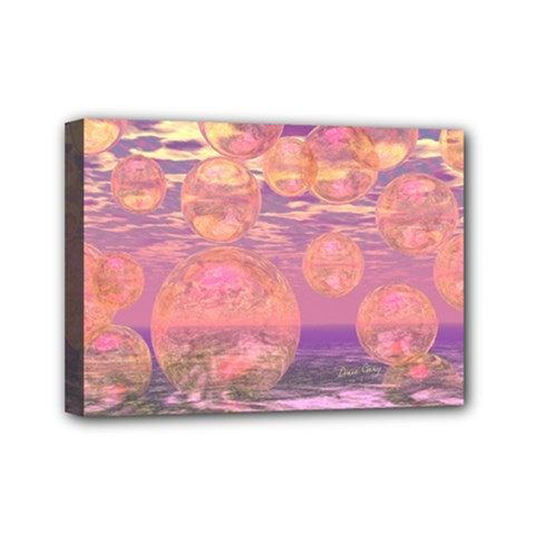 Glorious Skies, Abstract Pink And Yellow Dream Mini Canvas 7  X 5  (framed) by DianeClancy