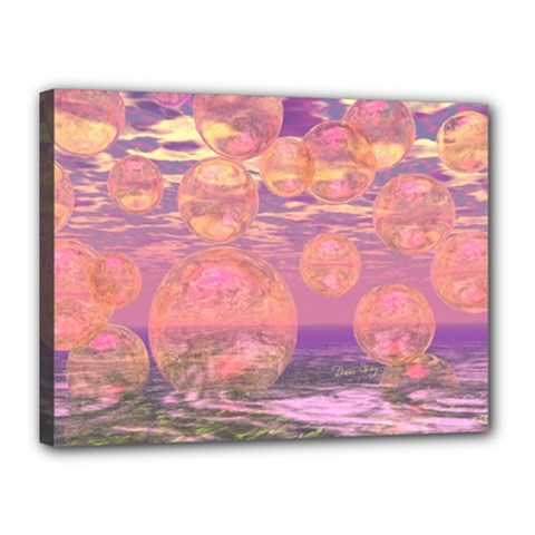 Glorious Skies, Abstract Pink And Yellow Dream Canvas 16  X 12  (framed) by DianeClancy
