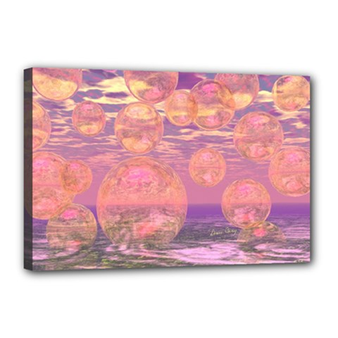 Glorious Skies, Abstract Pink And Yellow Dream Canvas 18  X 12  (framed) by DianeClancy
