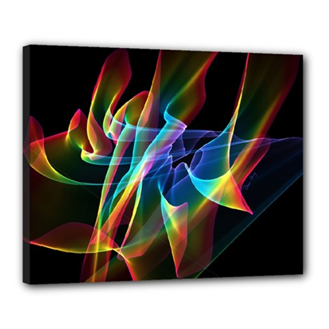 Aurora Ribbons, Abstract Rainbow Veils  Canvas 20  X 16  (framed) by DianeClancy