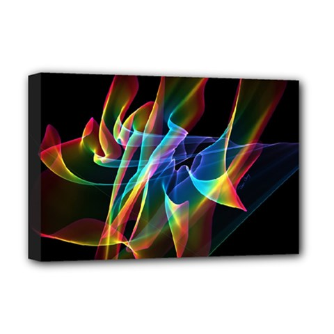 Aurora Ribbons, Abstract Rainbow Veils  Deluxe Canvas 18  X 12  (framed)
