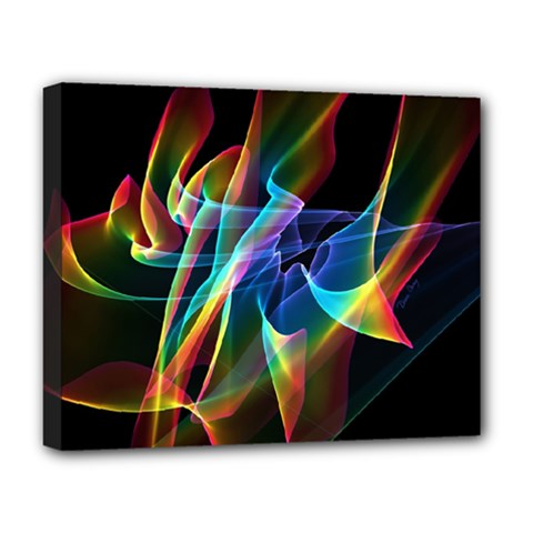 Aurora Ribbons, Abstract Rainbow Veils  Deluxe Canvas 20  X 16  (framed) by DianeClancy