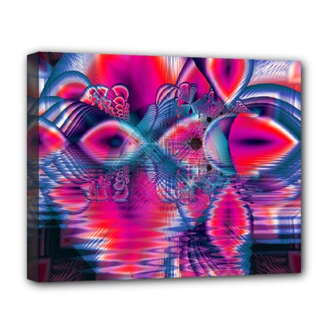 Cosmic Heart Of Fire, Abstract Crystal Palace Deluxe Canvas 20  X 16  (framed) by DianeClancy