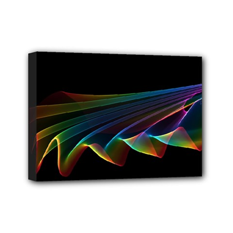 Flowing Fabric Of Rainbow Light, Abstract  Mini Canvas 7  X 5  (framed) by DianeClancy