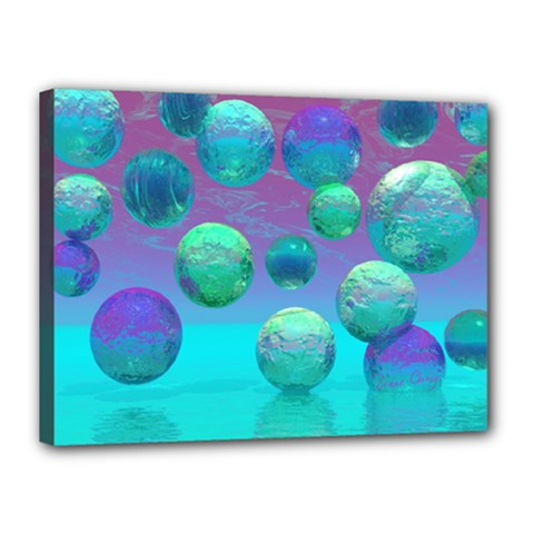 Ocean Dreams, Abstract Aqua Violet Ocean Fantasy Canvas 16  X 12  (framed) by DianeClancy