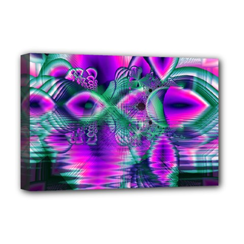 Teal Violet Crystal Palace, Abstract Cosmic Heart Deluxe Canvas 18  X 12  (framed) by DianeClancy