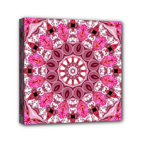 Twirling Pink, Abstract Candy Lace Jewels Mandala  Mini Canvas 6  X 6  (framed)