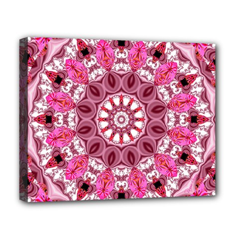 Twirling Pink, Abstract Candy Lace Jewels Mandala  Deluxe Canvas 20  X 16  (framed) by DianeClancy
