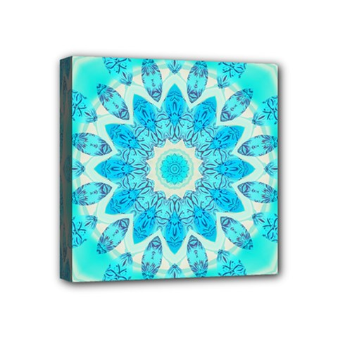 Blue Ice Goddess, Abstract Crystals Of Love Mini Canvas 4  X 4  (framed) by DianeClancy