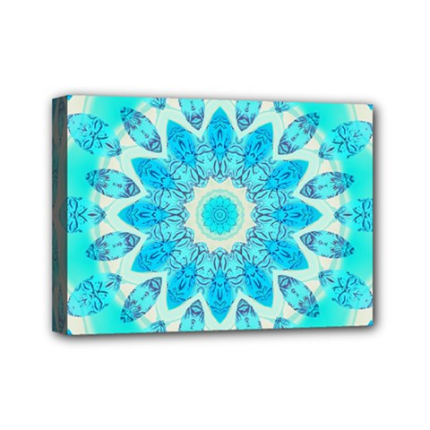 Blue Ice Goddess, Abstract Crystals Of Love Mini Canvas 7  X 5  (framed)