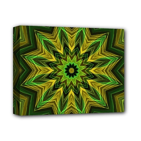 Woven Jungle Leaves Mandala Deluxe Canvas 14  X 11  (framed) by Zandiepants