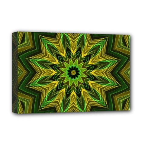 Woven Jungle Leaves Mandala Deluxe Canvas 18  X 12  (framed) by Zandiepants