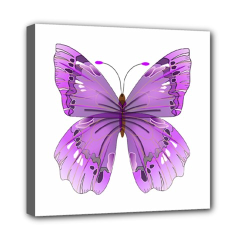Purple Awareness Butterfly Mini Canvas 8  X 8  (framed) by FunWithFibro