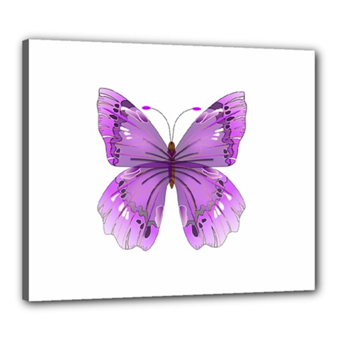 Purple Awareness Butterfly Canvas 24  X 20  (framed) by FunWithFibro