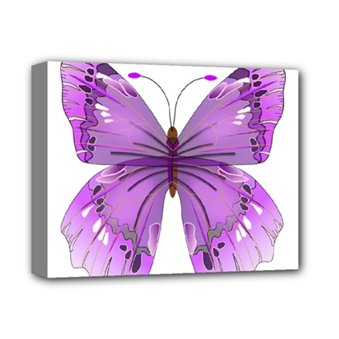 Purple Awareness Butterfly Deluxe Canvas 14  X 11  (framed) by FunWithFibro