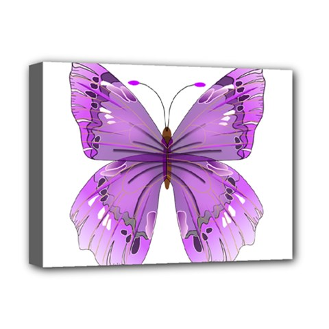 Purple Awareness Butterfly Deluxe Canvas 16  X 12  (framed)
