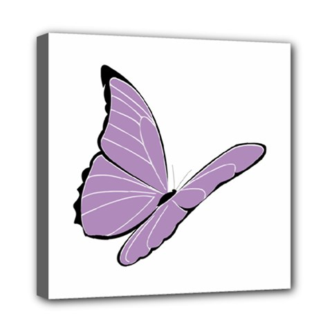 Purple Awareness Butterfly 2 Mini Canvas 8  X 8  (framed) by FunWithFibro
