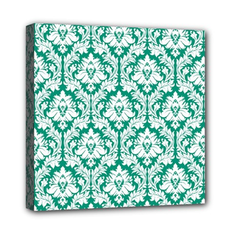 White On Emerald Green Damask Mini Canvas 8  X 8  (framed) by Zandiepants