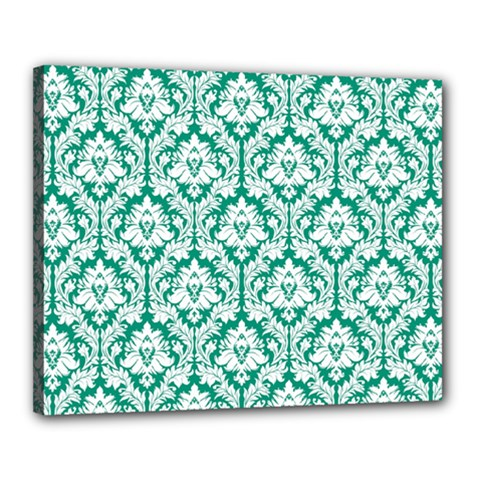 White On Emerald Green Damask Canvas 20  X 16  (framed) by Zandiepants