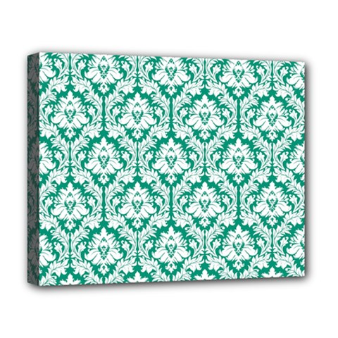 White On Emerald Green Damask Deluxe Canvas 20  X 16  (framed) by Zandiepants