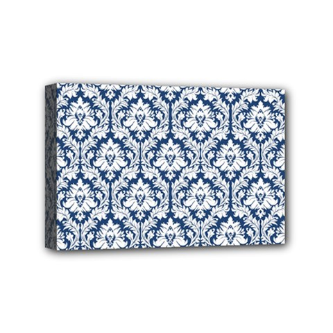 White On Blue Damask Mini Canvas 6  X 4  (framed) by Zandiepants