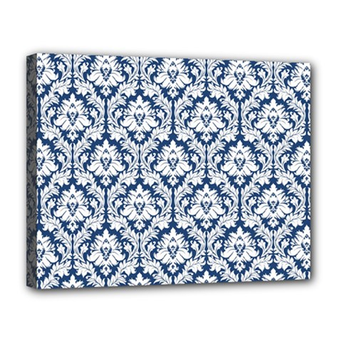 White On Blue Damask Canvas 14  X 11  (framed) by Zandiepants