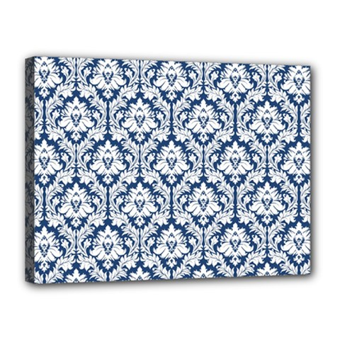 White On Blue Damask Canvas 16  X 12  (framed) by Zandiepants