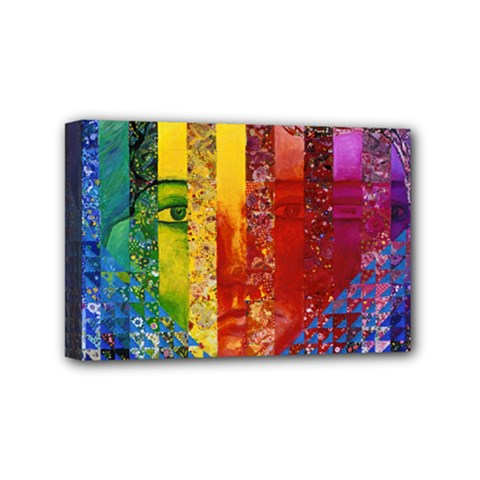 Conundrum I, Abstract Rainbow Woman Goddess  Mini Canvas 6  X 4  (framed) by DianeClancy