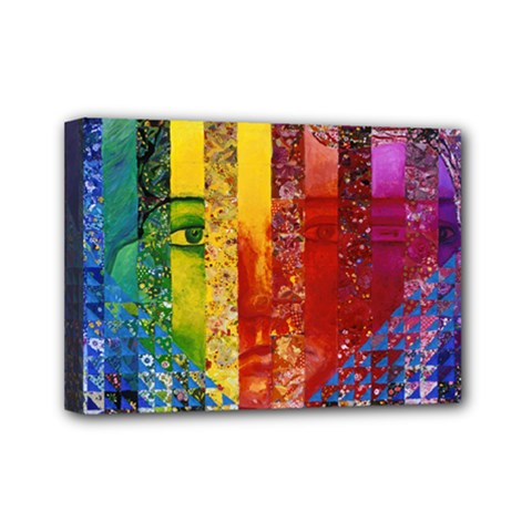 Conundrum I, Abstract Rainbow Woman Goddess  Mini Canvas 7  X 5  (framed) by DianeClancy