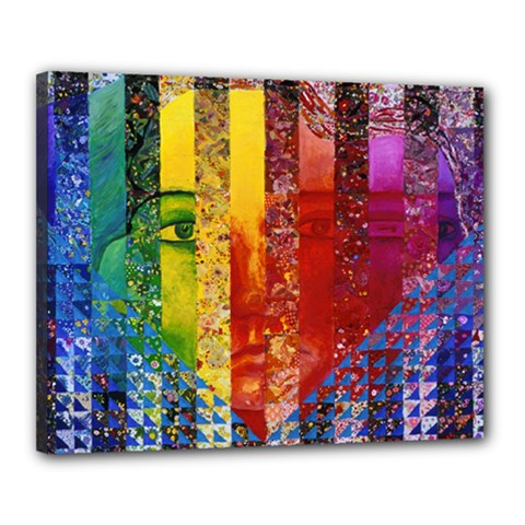 Conundrum I, Abstract Rainbow Woman Goddess  Canvas 20  X 16  (framed) by DianeClancy