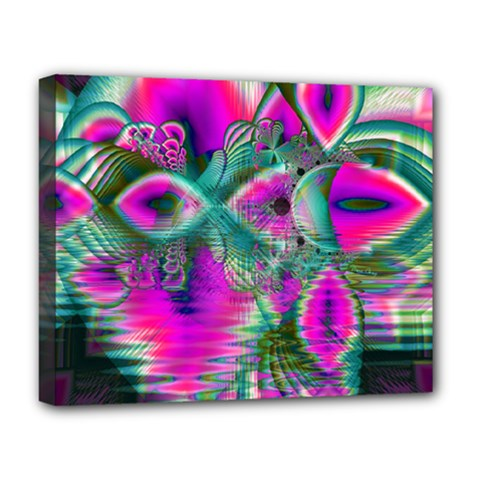 Crystal Flower Garden, Abstract Teal Violet Deluxe Canvas 20  X 16  (framed) by DianeClancy