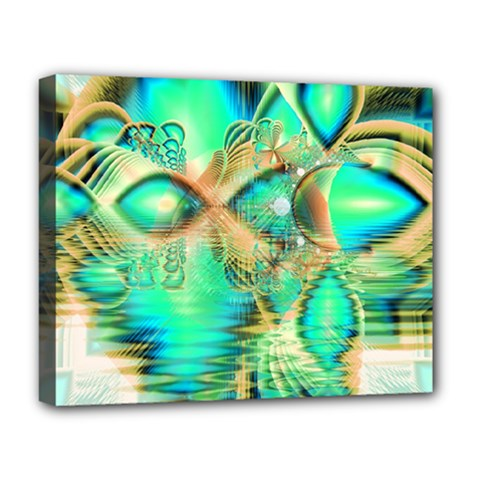 Golden Teal Peacock, Abstract Copper Crystal Deluxe Canvas 20  X 16  (framed) by DianeClancy