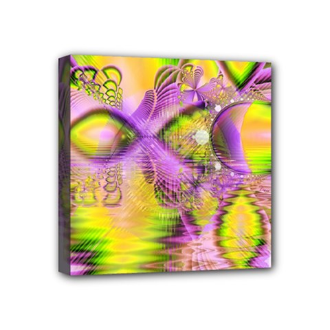 Golden Violet Crystal Heart Of Fire, Abstract Mini Canvas 4  X 4  (framed)