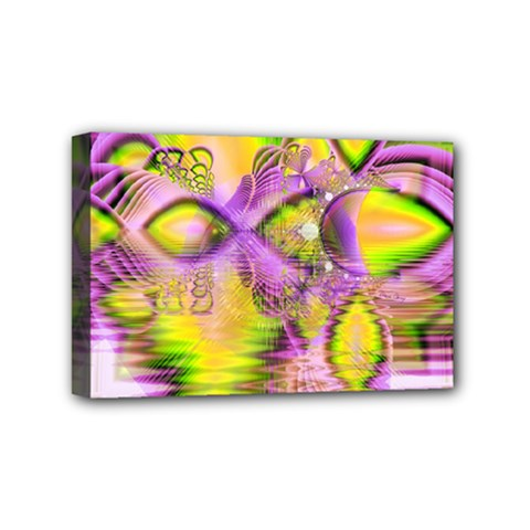 Golden Violet Crystal Heart Of Fire, Abstract Mini Canvas 6  X 4  (framed) by DianeClancy
