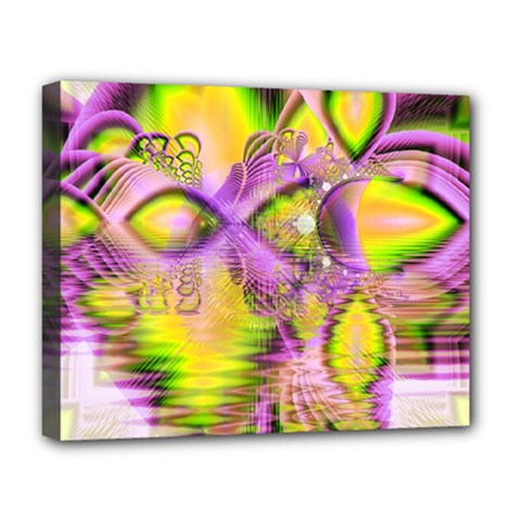 Golden Violet Crystal Heart Of Fire, Abstract Deluxe Canvas 20  X 16  (framed) by DianeClancy