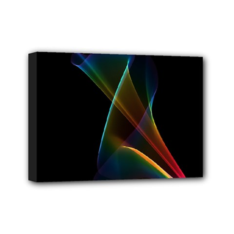 Abstract Rainbow Lily, Colorful Mystical Flower  Mini Canvas 7  X 5  (framed) by DianeClancy