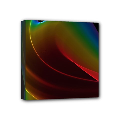 Liquid Rainbow, Abstract Wave Of Cosmic Energy  Mini Canvas 4  X 4  (framed) by DianeClancy