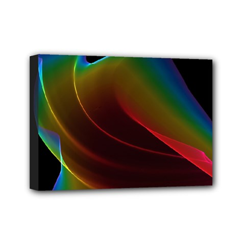 Liquid Rainbow, Abstract Wave Of Cosmic Energy  Mini Canvas 7  X 5  (framed) by DianeClancy