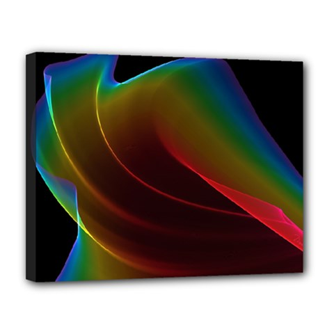 Liquid Rainbow, Abstract Wave Of Cosmic Energy  Canvas 14  X 11  (framed) by DianeClancy