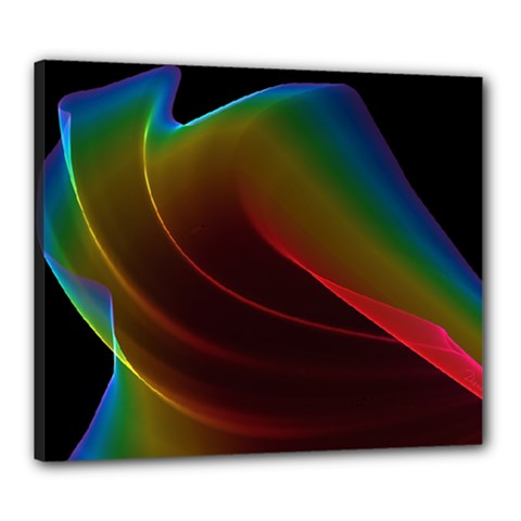 Liquid Rainbow, Abstract Wave Of Cosmic Energy  Canvas 24  X 20  (framed) by DianeClancy