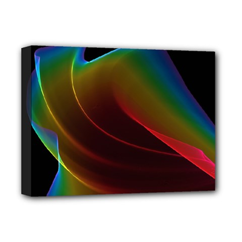 Liquid Rainbow, Abstract Wave Of Cosmic Energy  Deluxe Canvas 16  X 12  (framed)  by DianeClancy