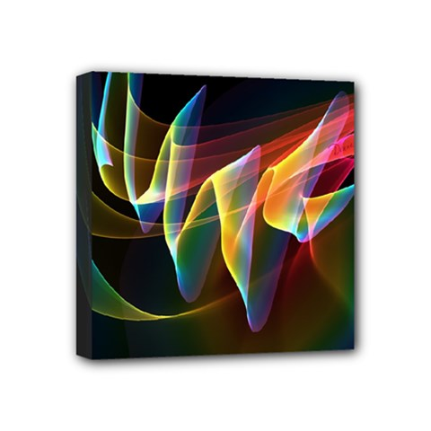 Northern Lights, Abstract Rainbow Aurora Mini Canvas 4  X 4  (framed) by DianeClancy
