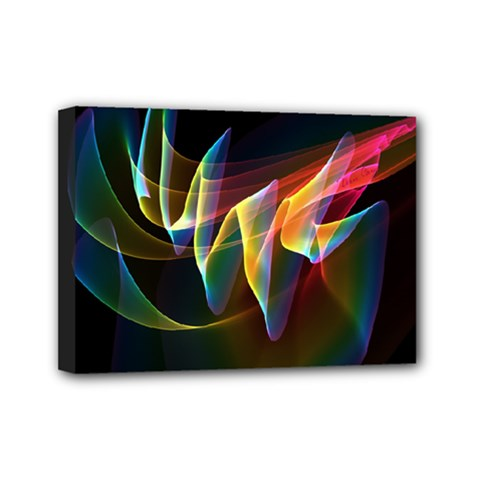 Northern Lights, Abstract Rainbow Aurora Mini Canvas 7  X 5  (framed) by DianeClancy