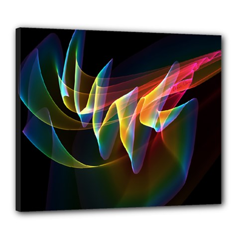 Northern Lights, Abstract Rainbow Aurora Canvas 24  X 20  (framed) by DianeClancy