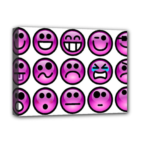 Chronic Pain Emoticons Deluxe Canvas 16  X 12  (framed)  by FunWithFibro