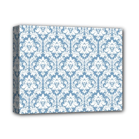 White On Light Blue Damask Deluxe Canvas 14  X 11  (framed) by Zandiepants