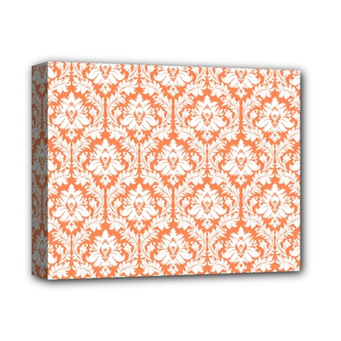 White On Orange Damask Deluxe Canvas 14  X 11  (framed) by Zandiepants